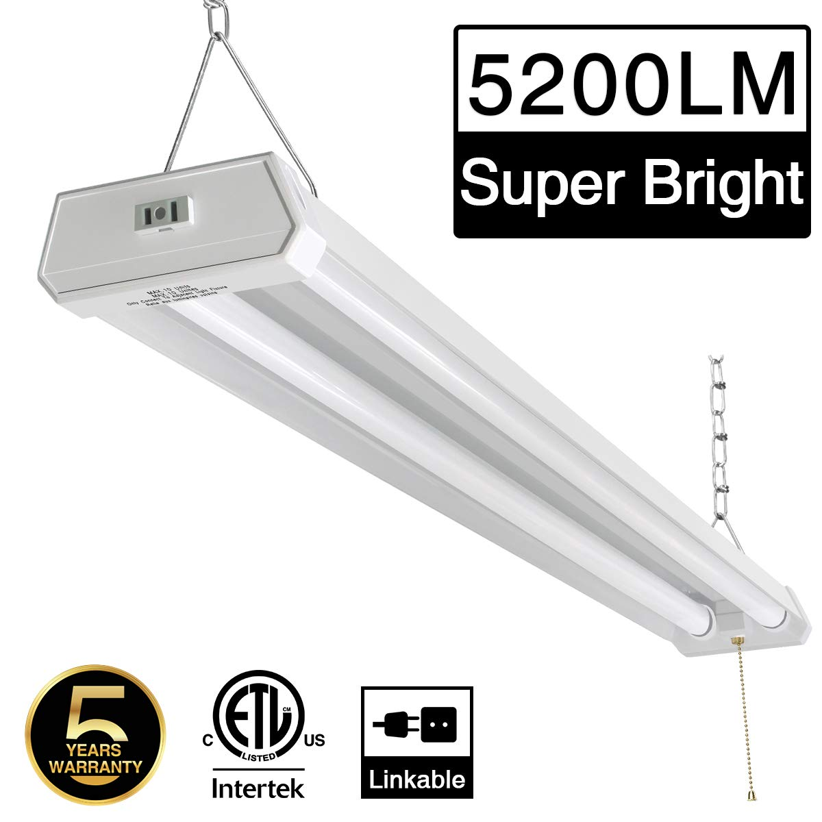 Linkable LED Shop Light for Garage, 42W 5200lm 4FT, 6000-6500K Daylight White, with Pull Chain (ON/Off) cETLus Listed, 5-Year-Warranty, 6000K (1PK)
