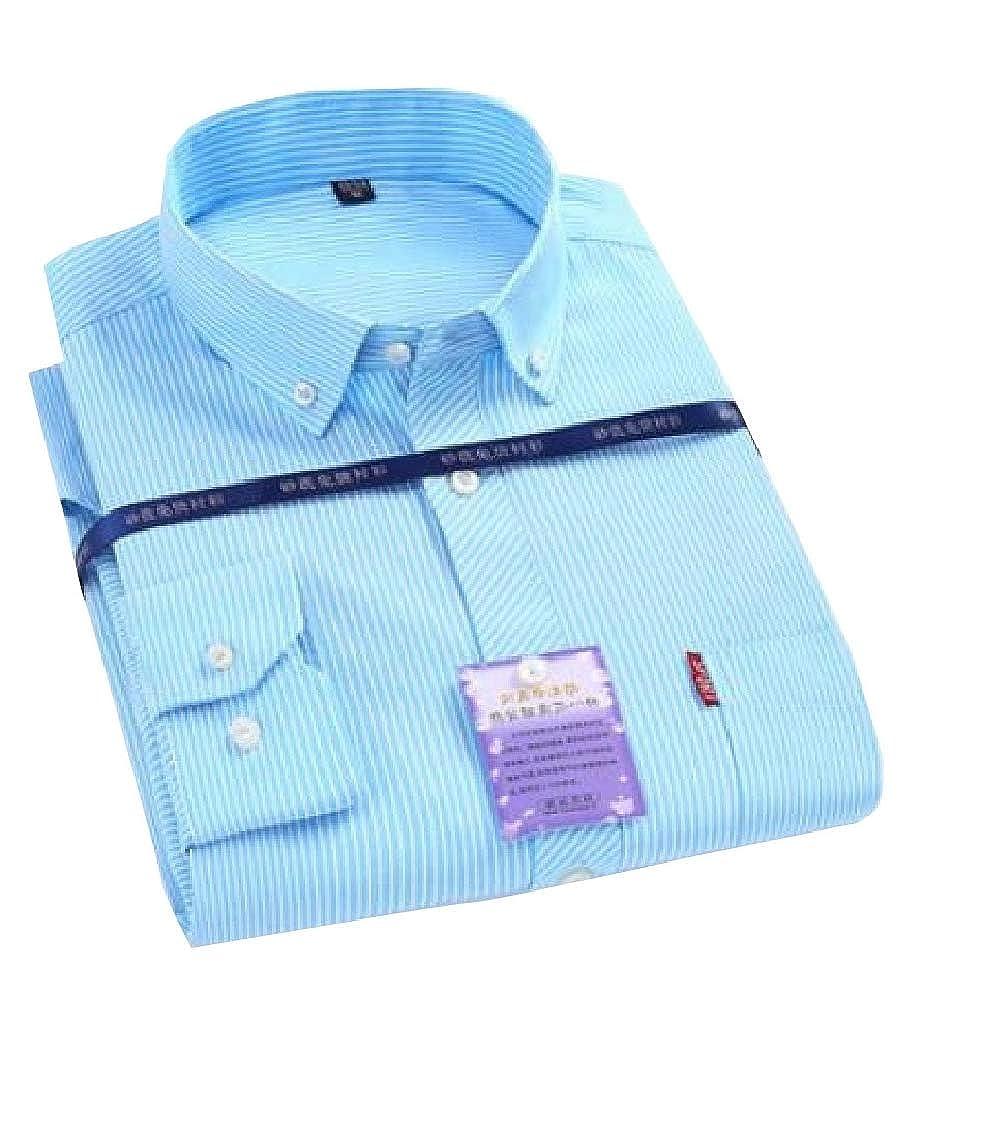 Yayu Mens Slim Casual Striped Oxford Long Sleeve Button Down Shirts