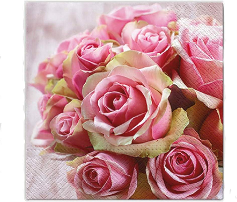 Premium Collection by Jean Lot de 20 serviettes de table Motif bouquet de roses