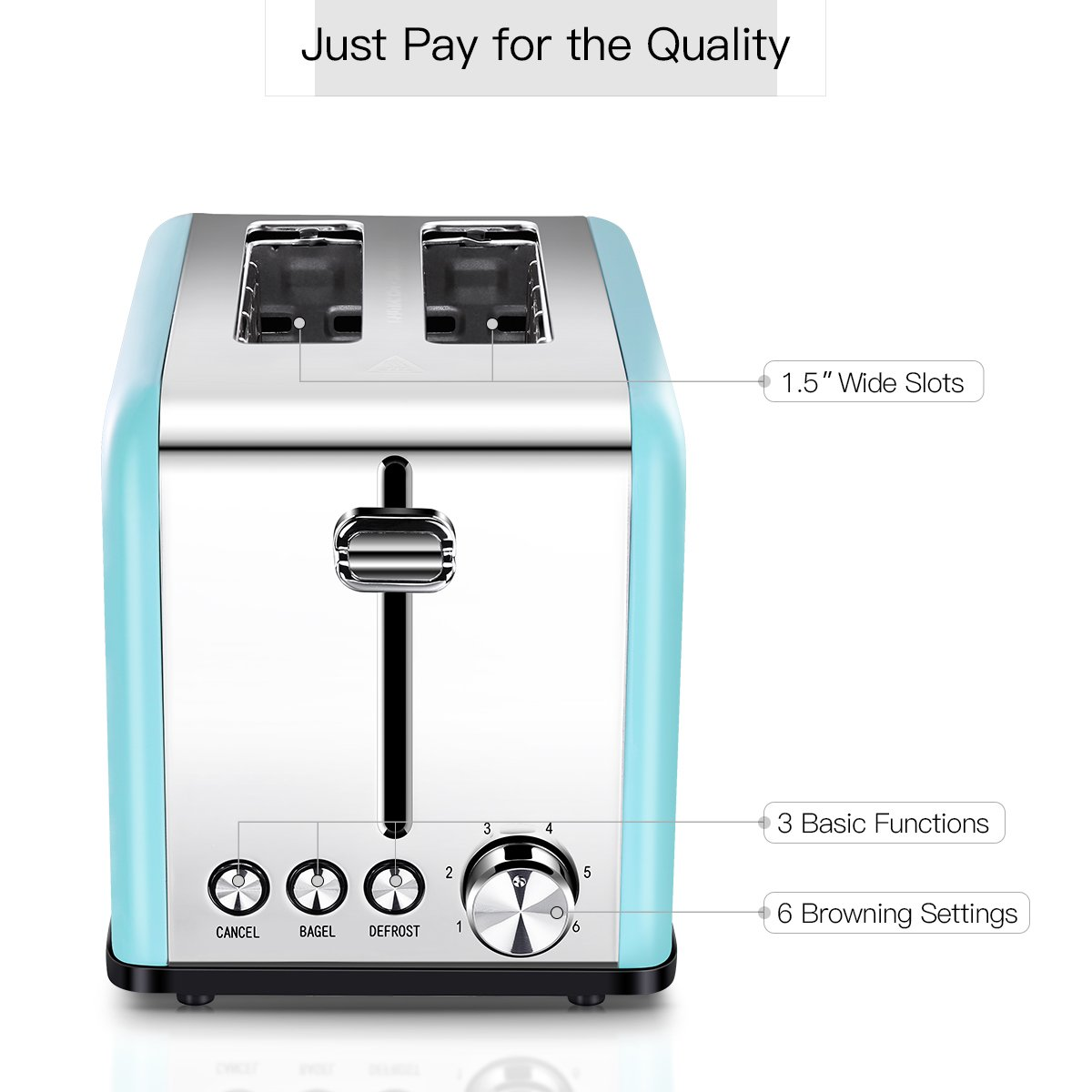 Toaster 2 Slice, Retro Small Toaster with Bagel, Cancel, Defrost Function, Extra Wide Slot Compact Stainless Steel Toasters for Bread Waffles, Blue by Keemo (Image #4)