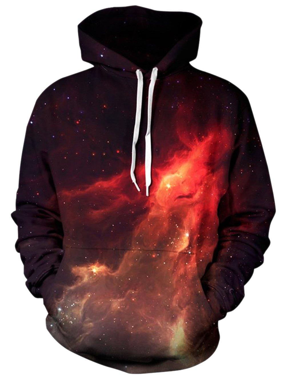 BFUSTYLE Maglione stampato a trecce della galassia con cappuccio 3D per le magliette felpate da unisex con le tasche grandi