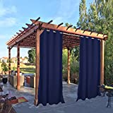 Pro Space Outdoor Drape and Curtain 50x120-Inch for Pergola Thermal Insulated Blackout Curtain Panel with Rust Proof Rings on Top and Bottom, Windproof and Mildew Resistant, Dark Blue