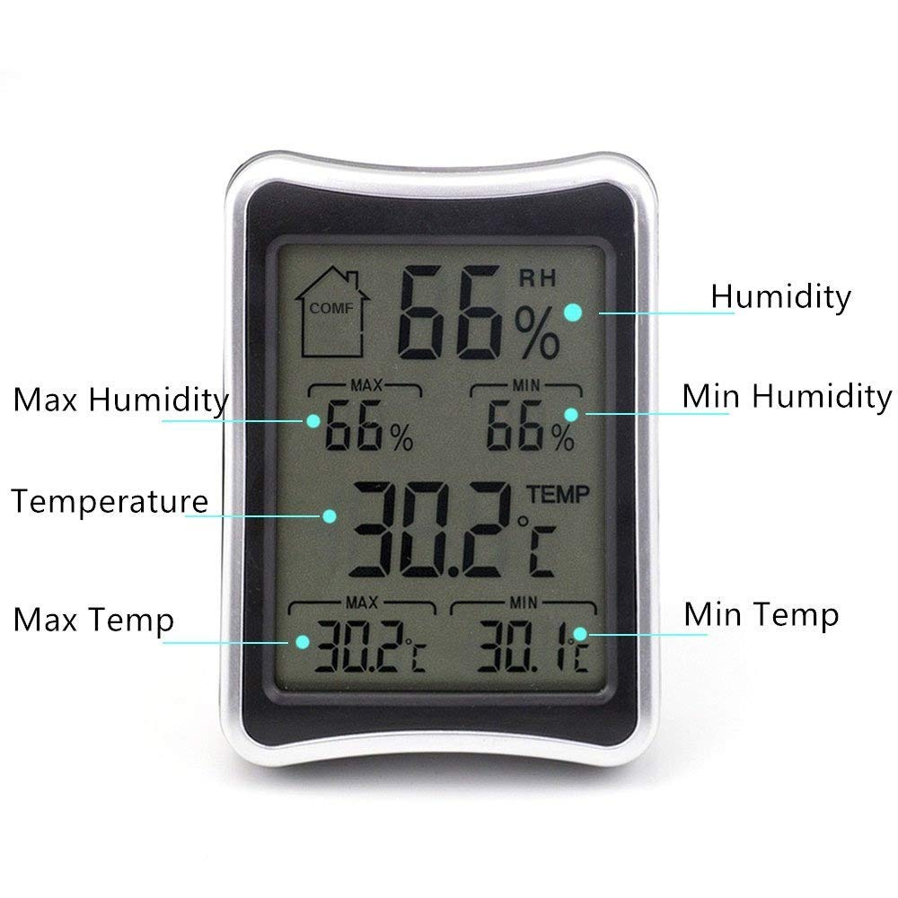 Indoor Temperature Humidity Monitor Digital Temperature Gauge and Humidity Meter Monitor For Home Office Warehouse Greenhouse Small,ABS, Wall Mount & Tabletop Bracket Amgagada