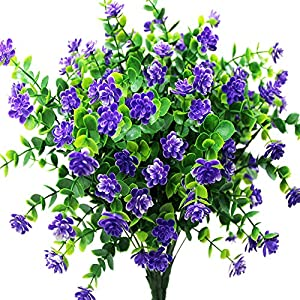 zimeng 8Pcs Artificial Flowers Fake Outdoor UV Resistant Plants Faux Plastic Greenery Shrubs Bushes Indoor Outside Hanging Planter Home Garden Window Box Office Wedding Decor Flower 101