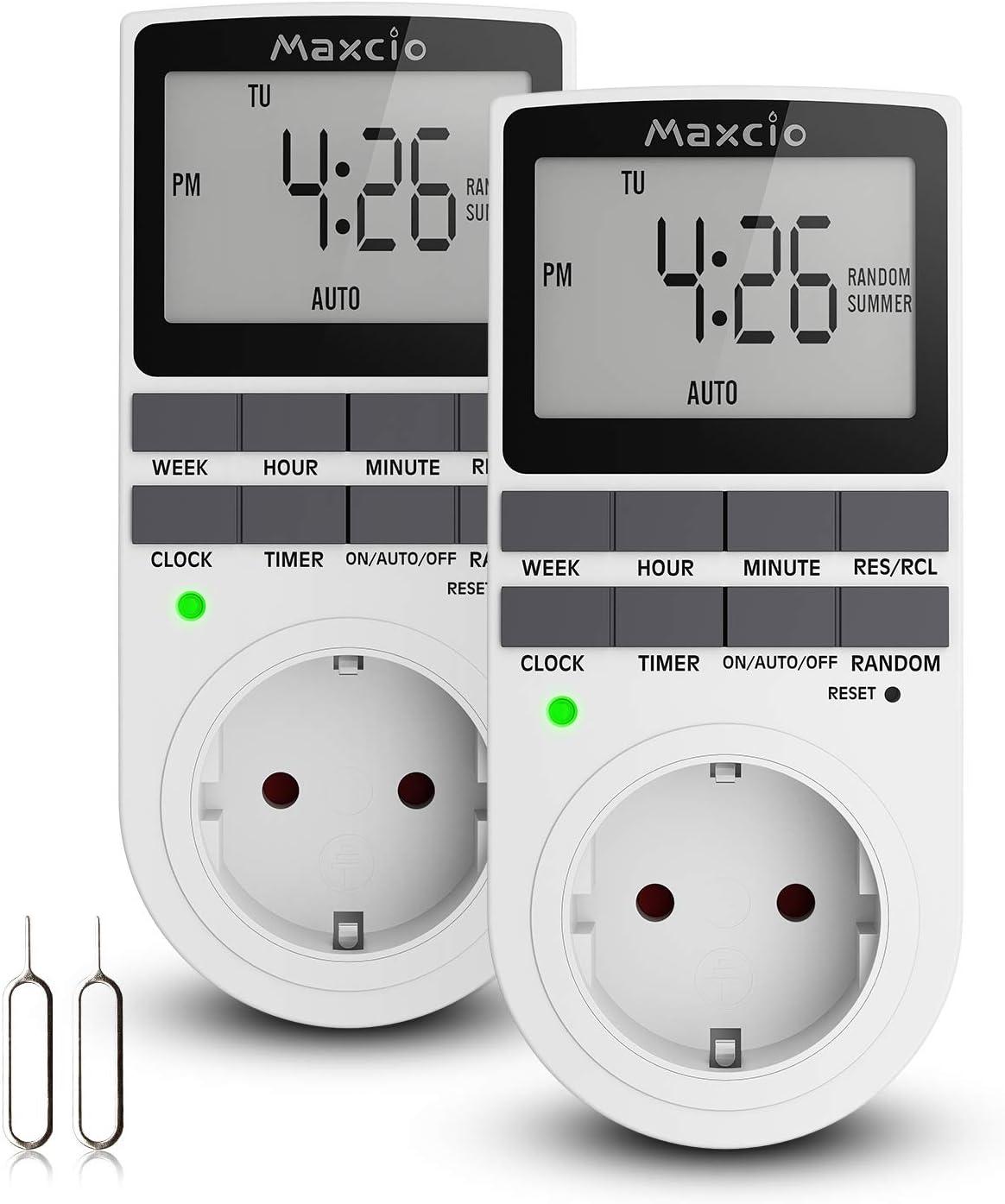 Temporizador Enchufe Digital Programable, Maxcio Programador Enchufe Semanal 12/24 Horario de Verano Modo Aleatorio Ahorrar Energía (2 Packs)