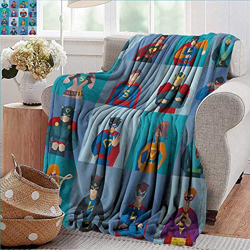 PearlRolan Flannel Throw Blanket,Superhero,Characters with Supernatural Powers in Special Costumes Comic Strip Humor Print,Multicolor,for Bed & Couch Sofa Easy Care 35