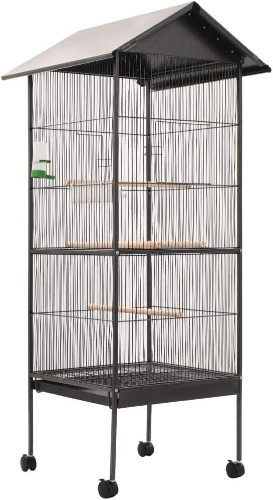 Nishore Jaula para Pájaros Jaula Metálica con Techo y 4 Palos de Madera para Mascota Aves Loros Canarios, Gris 66 x 66 x 155 cm