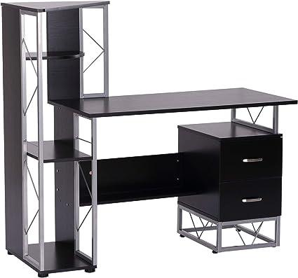 Homcom Bureau Informatique Design Industriel 133l X 155l X 123h Cm Multi Rangements Bibliotheque 3 Etageres 2 Tiroirs Mdf Metal Mdf Noir Amazon Fr Cuisine Maison