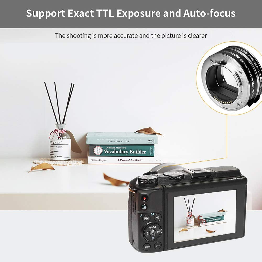 COMMLITE CM-MET-E Automatic Macro Extension Tube Ring Set 10mm 16mm Auto Focus TTL Exposure Compatible with Sony E-mount Mirrorless Cameras /& Lens