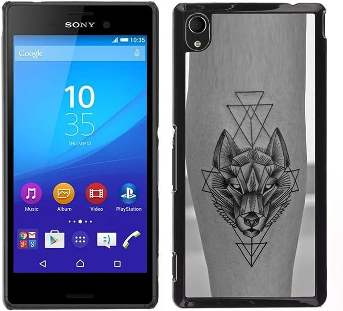 For Sony Xperia M4 Aqua Case , Lobo Polígono tinta del tatuaje de ...