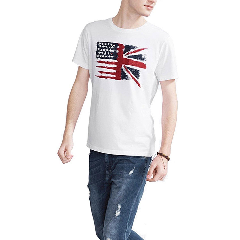Loo Show Us Uk Flag Short Sleeve T Shirts Casual Tee