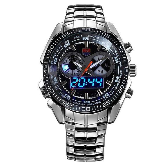 TVG Reloj del acero inoxidable negro hombres moda azul binario LED puntero para hombre resistente al agua relojes: Amazon.es: Relojes