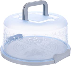 Hemoton 9.8 Inches Round Plastic Cake Carrier with Dome Lids Handle Food Storage Case Fresh Keeping Container for Transport (Blue)