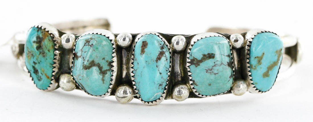 $480 Retail Tag Handmade Authentic Made by Robert Little Navajo Silver Natural Turquoise Native American Bracelet