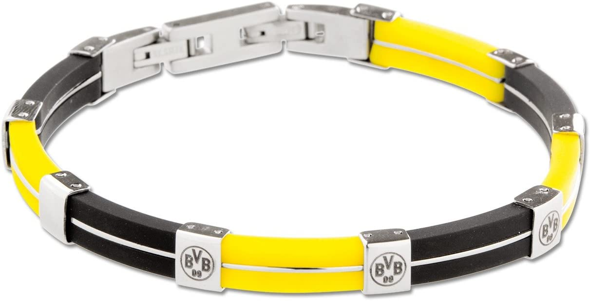 Borussia Dortmund edles Armband Schmuck mit Edelstahlplatte BVB 09 plus gratis Aufkleber forever Dortmund