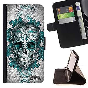 - Skull Devil Aztec/ Personalizada del estilo del dise???¡Ào de la PU Caso de encargo del cuero del tir????n del soporte d - Cao - For Samsung Galaxy S6 EDGE
