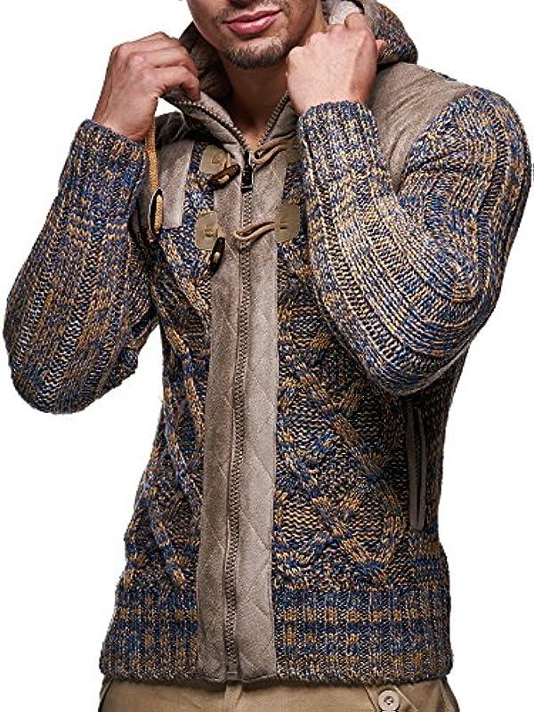 Leif Nelson Męska kurtka z dzianiny z kapturem, krÓj slim fit, gruba dzianina, nowoczesna, czarna, męska bluza z kapturem, kurtka zimowa z długim rękawem, gruba dzianina, LN20525: Odzież