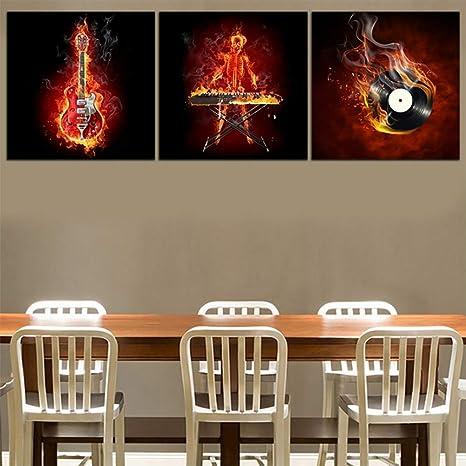 3 Piezas Imprime En Lienzo Quema De Fuego Guitarra Eléctrica Arte De La Pared Pinturas Instrumentos