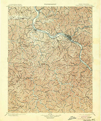 (YellowMaps Charleston WV topo map, 1:125000 Scale, 30 X 30 Minute, Historical, 1899, Updated 1904, 19.9 x 16.5 in - Paper)
