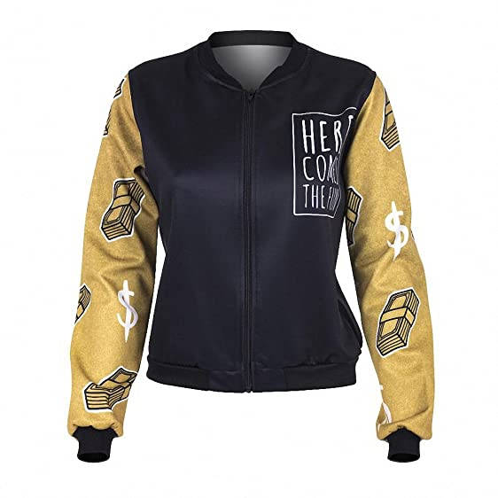Women Bomber Jacket Gold Weed And Money Printing Chaquetas Mujer Fashion Sexy Basic Jacket for Woman