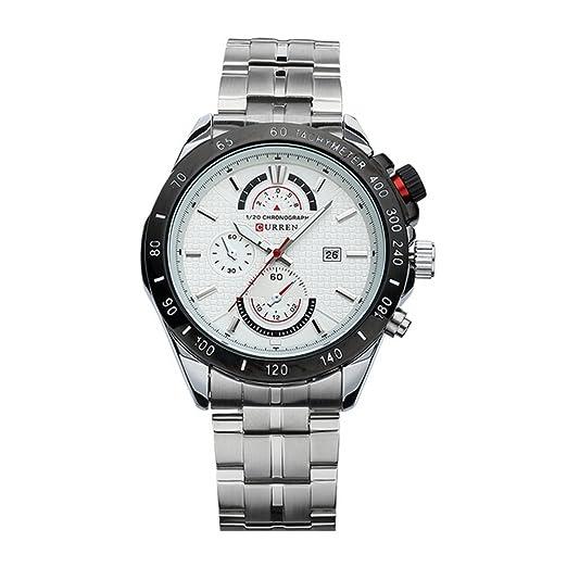 CURREN Relojes completa de acero grande redonda del dial Exhibición de la fecha de lujo para hombre de negocios blanco del reloj: Amazon.es: Relojes