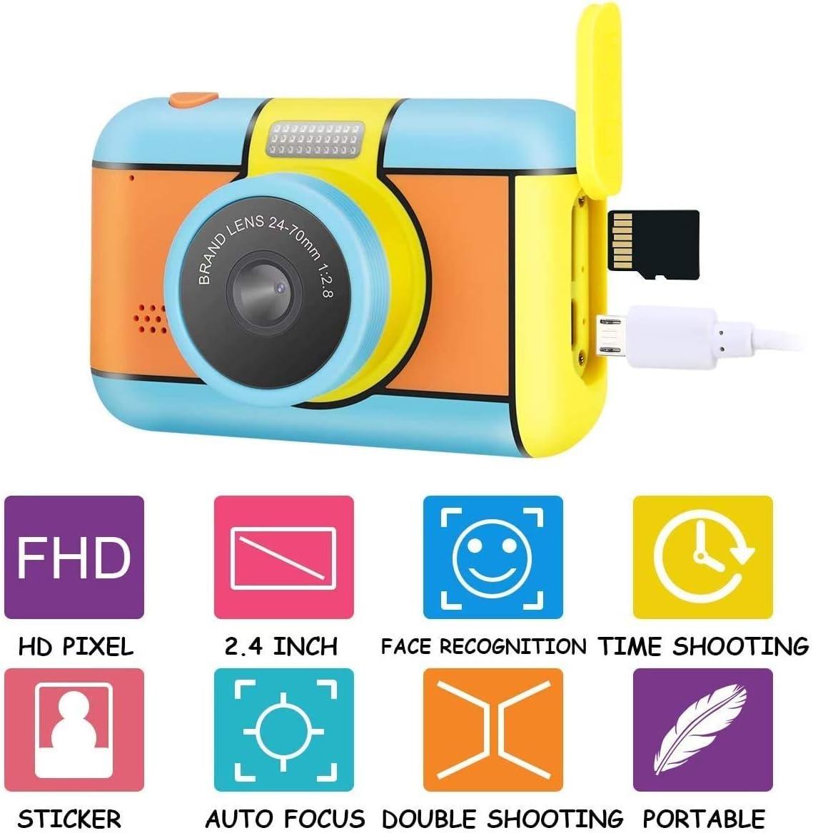 Zenghh Los niños digitales de la cámara doble de actualización Juguetes Regalos for los 3-11 años de edad chicos niñas, 6x Zoom Recorrido Lente de enfoque libre Enfoque 24MP 1080P Pantalla y tarjeta d