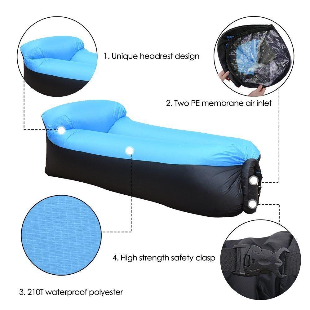 Ruidom Sofá inflable al aire libre del amortiguador del aire del sofá impermeable del amortiguador de aire, bolso inflable portátil de la haba, sofá ...