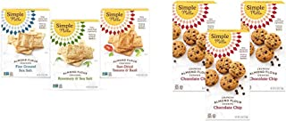 product image for Simple Mills, Snacks Variety Pack, Fine Ground Sea Salt, Rosemary & Sea Salt, Farmhouse Cheddar Variety Pack & Almond Flour Chocolate Chip Cookies, Gluten Free and Delicious Crunchy Cookies, 3 Count