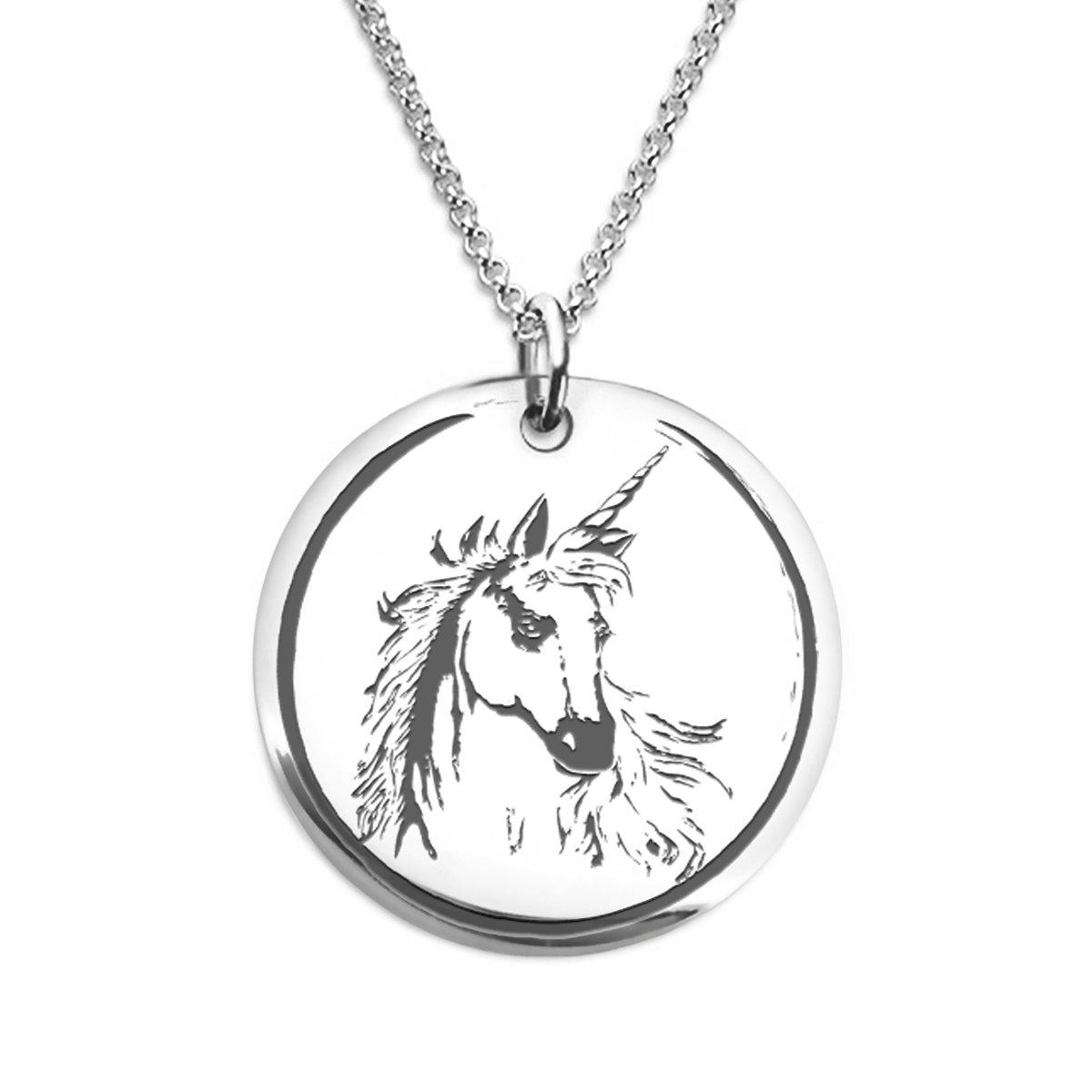 Unicornio Matif Fierce Unicorn Necklace Stainless Steel Laser Engraved Pendant
