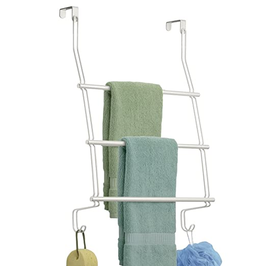 Amazon.com: mDesign Modern Decorative Metal Wire Over The Door Towel Rack Holder Organizer with Hooks - for Storage of Bathroom Towels, Washcloths, ...