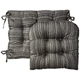 "Klear Vu Jumbo Scion Gripper Non Slip Rocking Chair Cushion and Padding, 17"" x 17"", 2 Piece Set, Gray"
