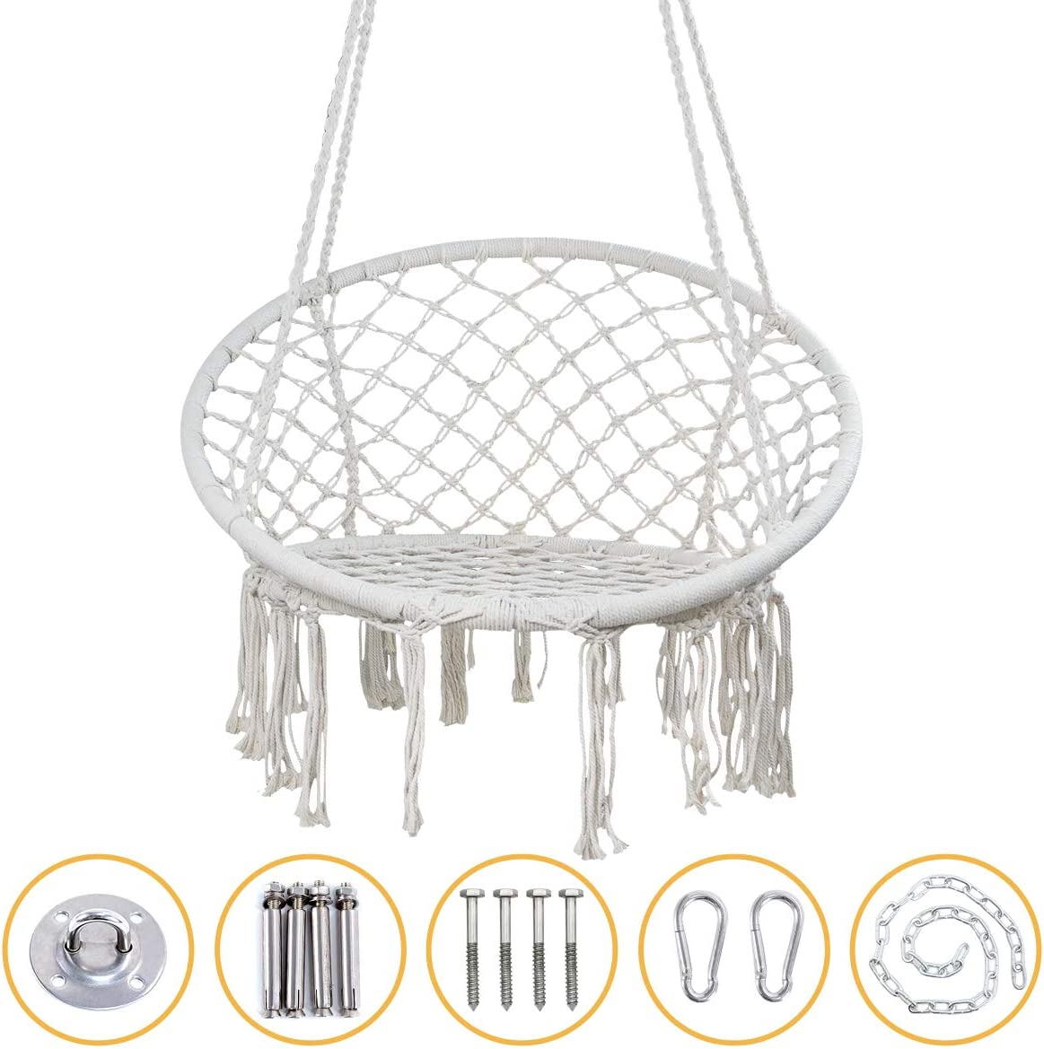 YRYM HT Macrame Swing Hammock Chair - Macrame Hanging Chair with Durable Hanging Hardware Kit, Indoor & Outdoor Macrame Swing Chairs for Bedrooms, Patio, Porch, Deck, Yard, Garden