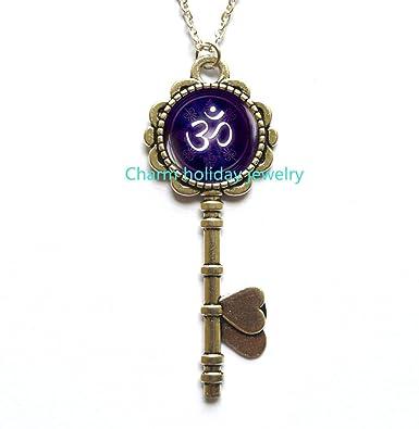 Amazon om symbol key necklace yoga meditation key pendant om symbol key necklace yoga meditation key pendant spiritual yoga jewelry gift buddhist aloadofball Gallery