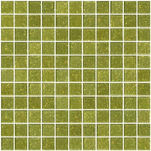 Susan Jablon Mosaics - 1 Inch Light Lime Green Glitter Glass Tile