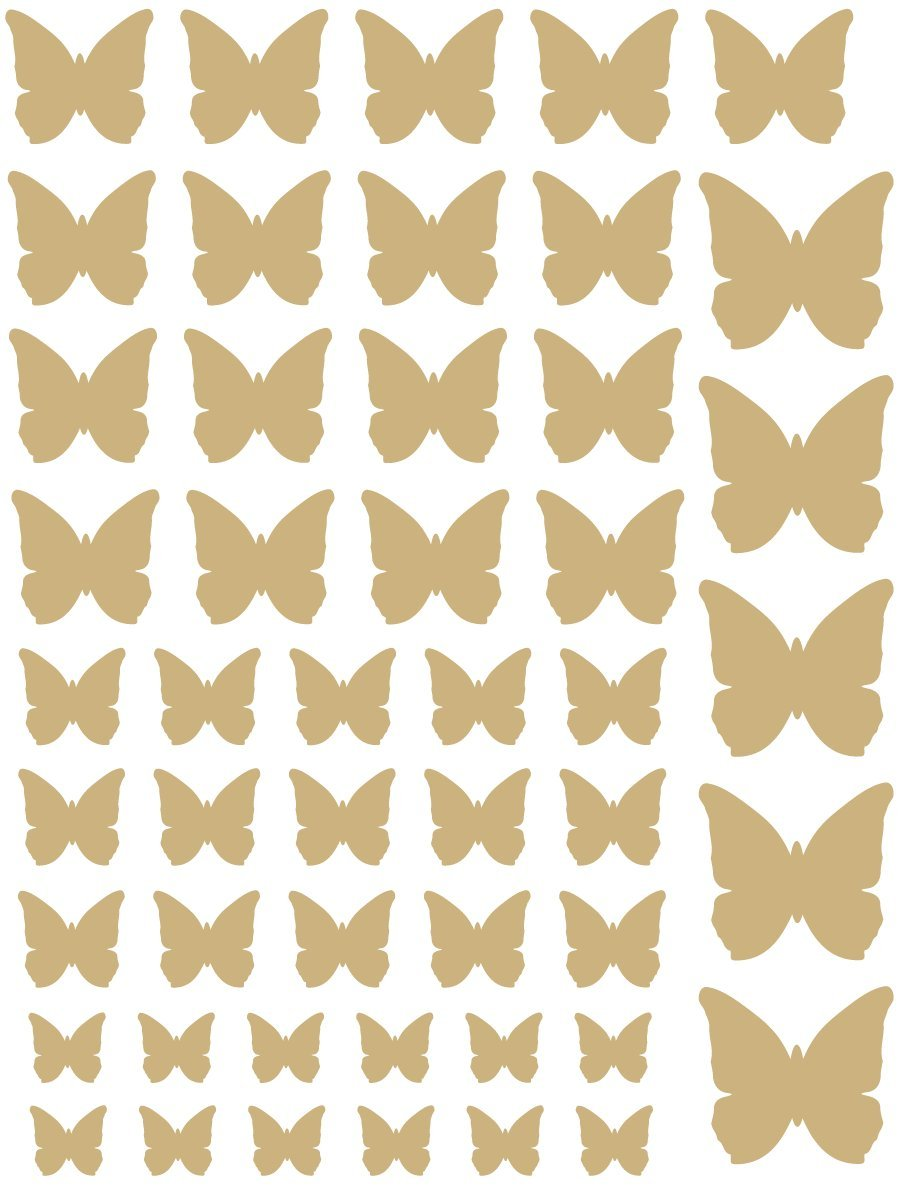 Amazon.com: 50 Gold Metallic Butterfly Vinyl Wall Decals: Home & Kitchen