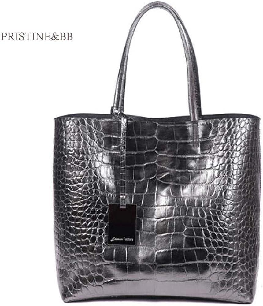 Finest Italian Cow Skin Pattern Crocodile Metallic Objet Bag