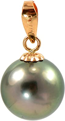 Top Quality 8.5-9mm Authentic Tahitian Black Pearl in 925 Sterling Silver