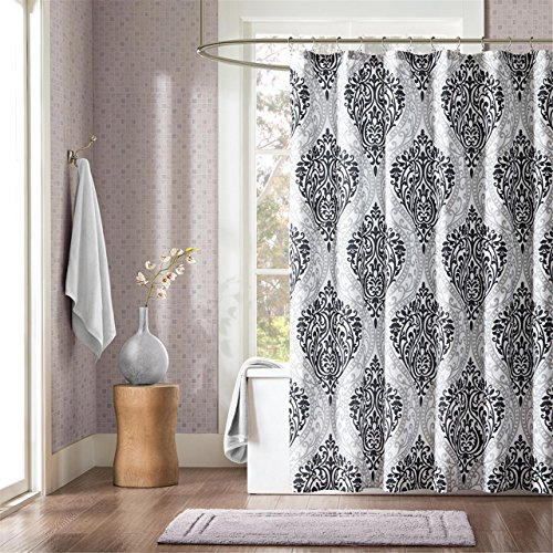 black white damask shower curtain - 7