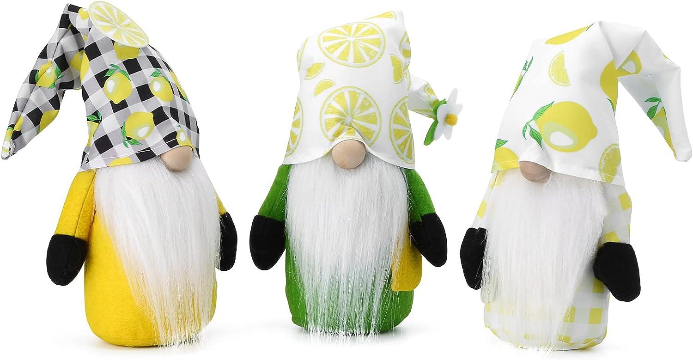 ESUSTER Gnome Plush Lemon, Yellow Scandinavian Tomte Nisse Swedish Elf Decorations for Home Farmhouse Kitchen, Faceless Figurines Summer Flower Gnome, Set of 3