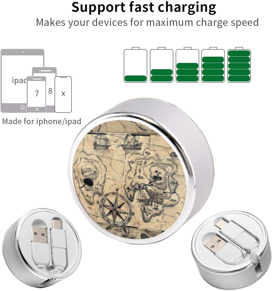 Multi Quick USB Charging Cable,Old Nautical Map 2 in1 Fast Charger Cord Connector High Speed Durable Charging Cord Compatible with iPhone//Tablets//Samsung Galaxy//iPad and More