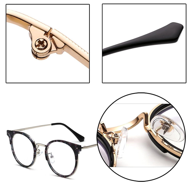 XFentech Unisex Herren Damen Klassische Nerdbrille Rund Metall ...