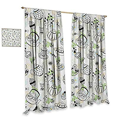 Tea Party Room Darkening Wide Curtains Hand Drawn Doodle Style Teapots Cups and Sweets Hearts Flowers Drinks Decorative Curtains for Living Room Black White Green