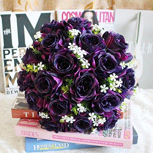 YJYdada 18Head Artificial Silk Roses Flowers Bridal Bouquet Rose Home Wedding Decor (E) (Bouquet Rose Lavender)