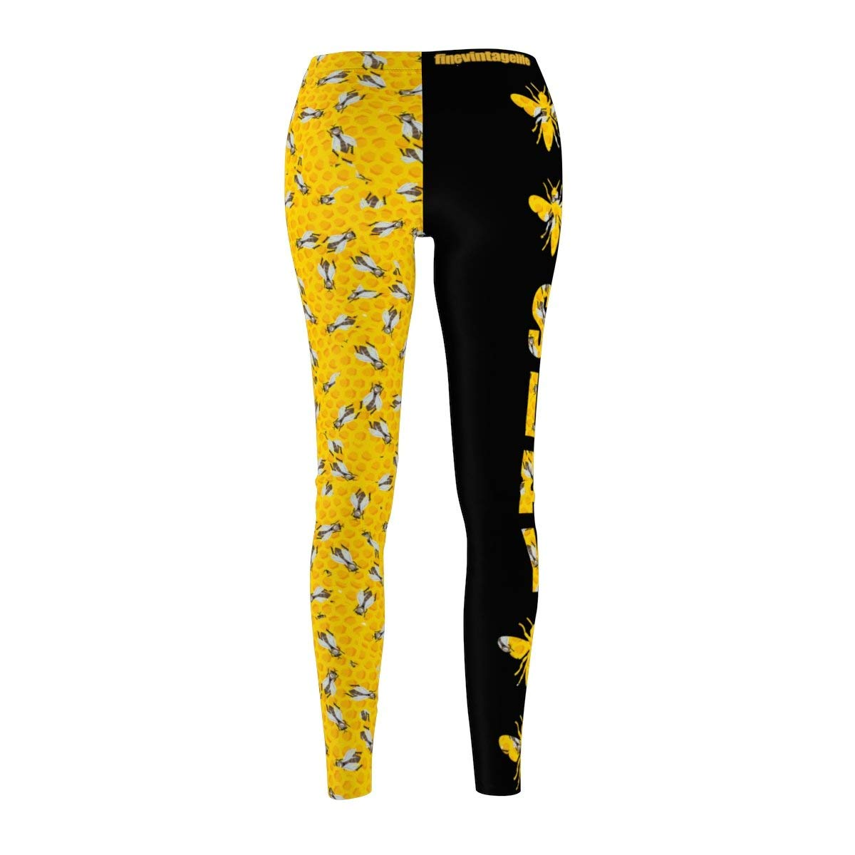 Fine Vintage Life Bey Hive Honey Comb Slay ONTRII Women's All Over Leggings - Two Tone Black by Fine Vintage Life (Image #4)