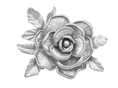 Matte Silver Plated Magnolia Rose Flower Blossom Brooch Pin Very Intricate Details - Elegant and Pretty - In Organza Bag. ChTf7cRkQ8