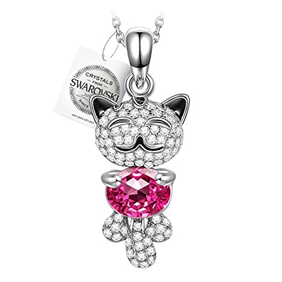 PAULINE & MORGEN Lucky Cat Necklace for Women made with Crystals from SWAROVSKI® VpGsCa