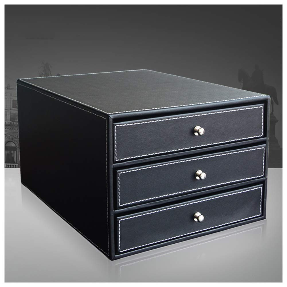 RRH-3 Drawer Leather Mobile Desktop File Cabinet, Three-Layer Drawer Type A4 File Storage Box, Desktop Cabinet, for Office Use (Color : Black) by RRH