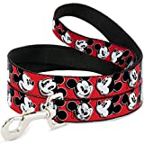 "Buckle-Down Pet Leash - Mickey Mouse Expressions Red/Black/White - 4 Feet Long - 1/2"" Wide"