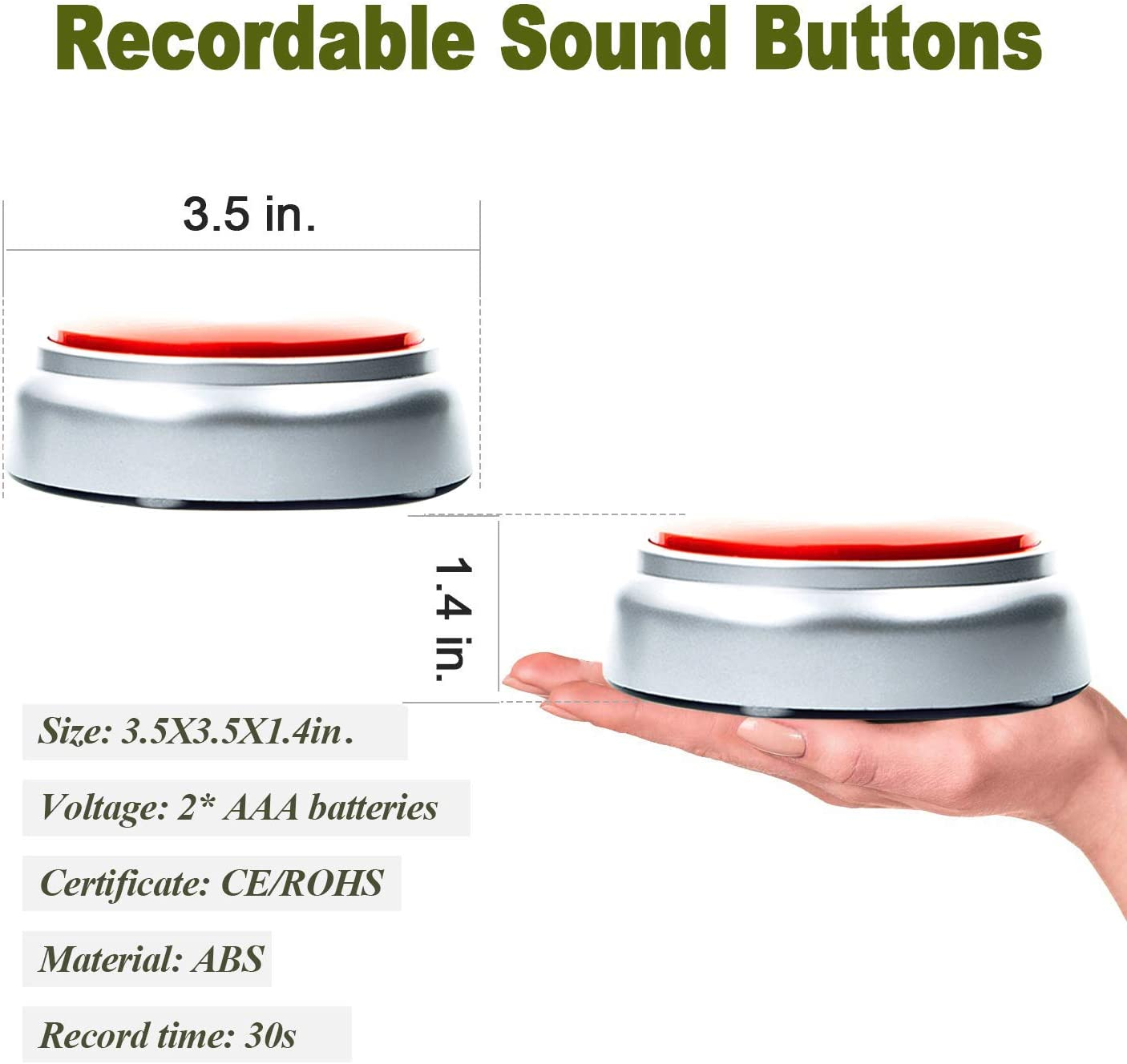 Neutral Sound Talking Button Record Sound Box Answer Buzzers 30 Seconds Recording Red and Silver