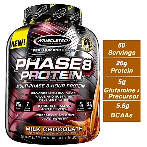MuscleTech Phase8 Whey Protein Powder Blend, Sustained Release 8-Hour Protein Shake, Milk Chocolate, 50 Servings (4.6lbs)
